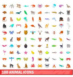 100 animal icons set cartoon style vector