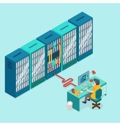 Data center and hosting Network internet database vector image