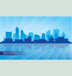 memphis city skyline silhouette background vector image