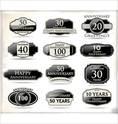 Anniversary black labels vector