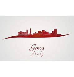 Genoa skyline in red vector image