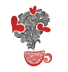 Caps tea coffee love heart romantic menu vector