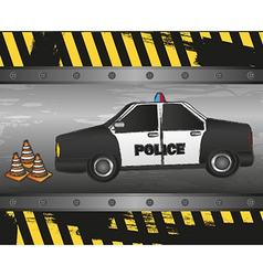Police car on grunge background vector