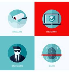 Modern flat concepts of security and surveillance vector