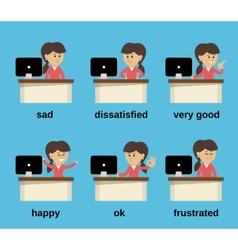 Businesswoman working emotions set vector