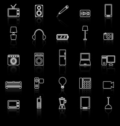 Electrical machine line icons with reflect vector