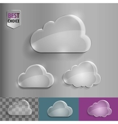 Set of shiny glass bubble cloud icons with soft vector