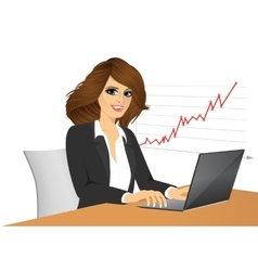 Young pretty business woman with laptop vector