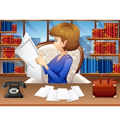 Businesswoman reading papers in office vector
