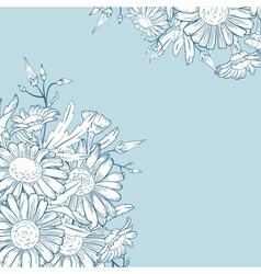Elegant card with chamomile flowers floral vector