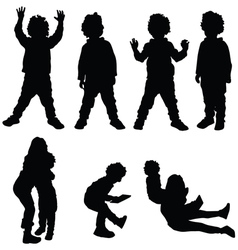 Children set silhouette vector