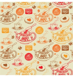 Vintage tea pots pattern vector