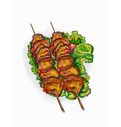 Chicken shish kebab vector