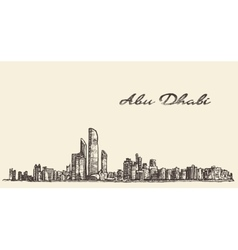 Abu dhabi skyline hand drawn sketch vector