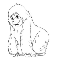 Animal outline for chimpanzee vector