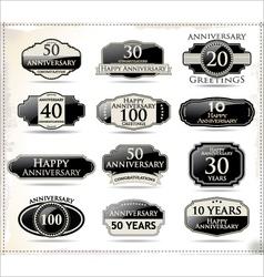 Anniversary black labels vector image vector image