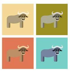 Assembly flat icons nature cartoon bull vector