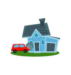 Auto crashing into wall of home property vector