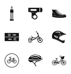 Bicycle parts icons set simple style vector
