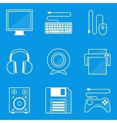 Blueprint icon set computer vector