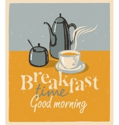 breakfast tea cup and teapot vector image vector image