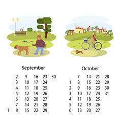 calendar 2018 september october vector image vector image