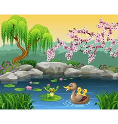 Cartoon funny mother duck with frog on the lily wa vector image vector image
