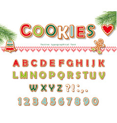 christmas gingerbread cookie font biscuit letters vector image vector image