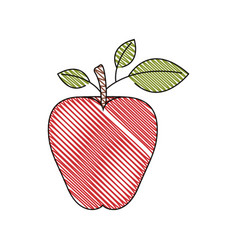 Color crayon stripe image of red apple fruit vector