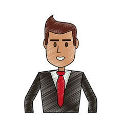 Color pencil half body executive man vector