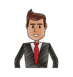 color pencil half body executive man vector image vector image