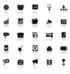 Data and information icons with reflect on white vector image