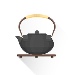 flat asian tea iron kettle icon vector image