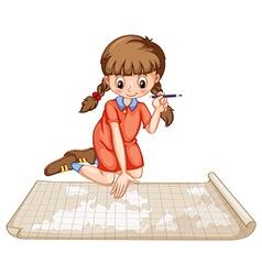 Girl plotting on map vector