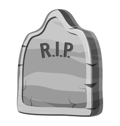 Gravestone and rip text icon gray monochrome style vector
