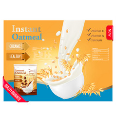 Instant oatmeal advert concept milk flowing into vector