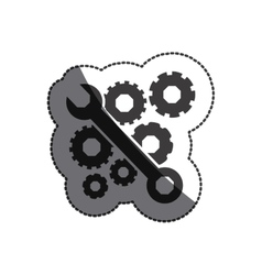 Isolated wrench and gears design vector