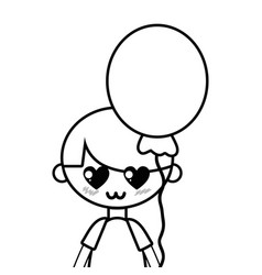 Line cute boy with balloon and hairstyle design vector