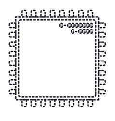 microchip closeup icon in monochrome silhouette vector image vector image