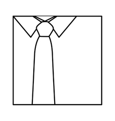 Monochrome contour with shirt and tie close up vector
