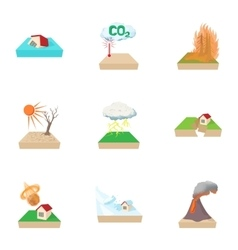 Natural disasters icons set cartoon style vector