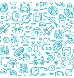 Outline seafood sushi seamless pattern vector image
