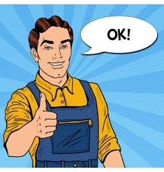 Pop art smiling mechanic with wrench thumbs up vector