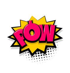 Pow comic text white background vector