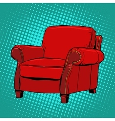 Red armchair furniture vector