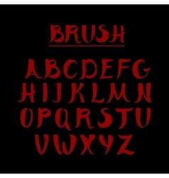 Red handwritten calligraphic alphabet Made in vector image