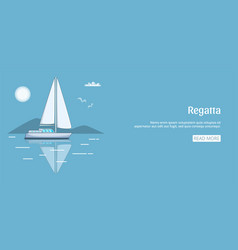 Regatta sail boat banner horizontal cartoon style vector