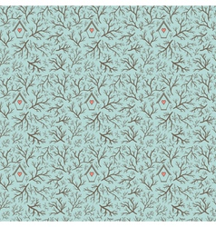 Seamless hand-drawn pattern with branches vector image