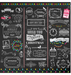 Set Christmas Calligraphic Design Elements vector image