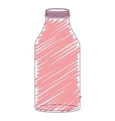 silhouette glass bottle with red stripes vector image